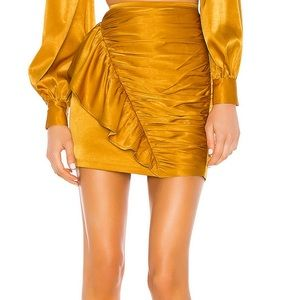 Revolve Ruched Satin Gold Mini Skirt